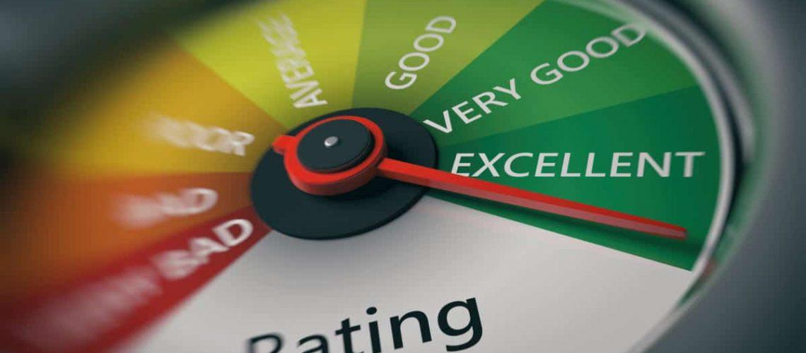 Rating, customer feedback concept. Car speedometer, excellent rating close up. 3d illustration